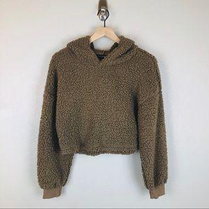 Zaful Sherpa Style Crop Hoodie Pullover